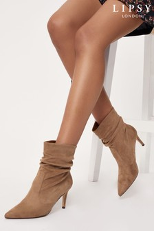 Lipsy Camel Regular Fit Heeled Ruched Long Boot