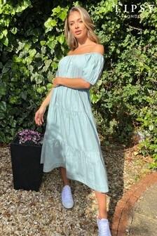 Lipsy Pale Blue Lightweight Denim Midi Dress