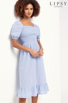 Lipsy Pale Blue Regular Square Neck Shirred Midi Dress
