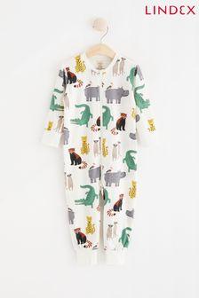 Lindex White Animal Print Zip Sleepsuit (Baby)