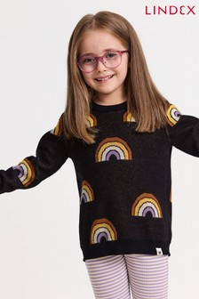 Lindex Black Fine Knit Printed Jumper