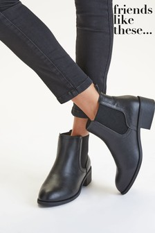 Friends Like These Black Wide FIt Chelsea Boot