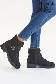 Friends Like These Black Regular Fit Lace Up Biker Boot