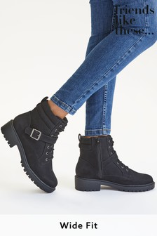 Friends Like These Black Wide FIt Lace Up Biker Boot