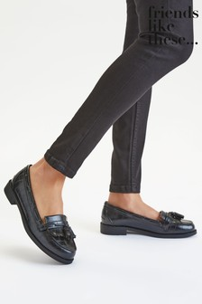 Friends Like These Black Wide FIt Tassel Loafer