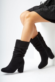 Friends Like These Black Regular Fit Block Heel Ruched Boot
