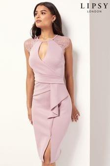 Lipsy Nude Eyelash Wrap Lace Frill Dress