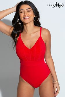 Pour Moi Red Ruched Pleated Control Swimsuit