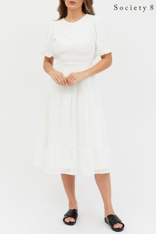 Society 8 White Balloon Sleeve Cut Out Back Tiered Midaxi Dress in Woven Lace