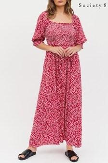 Society 8 Floral Square Neckline Shirred Floral Dress