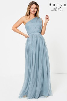 Anaya With Love Blue Regular One Shoulder Maxi Dress