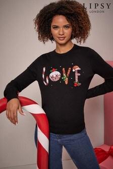 Lipsy Black Love Regular Crew Neck Knitted Christmas Jumper