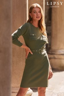 Lipsy Khaki Knitted Military Dress