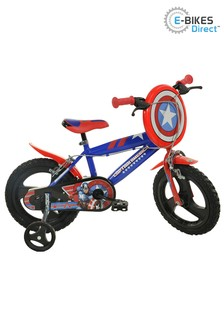E-Bikes Direct Red Dino Captain America Red Boys Bike with Shield - 14 Inch Mag Wheels
