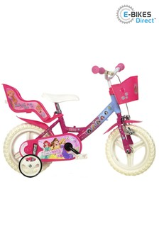 E-Bikes Direct Pink Dino Disney Princess Licensed Girls Bike with Doll Carrier - 12 Inch Mag Wheels