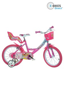 E-Bikes Direct Pink Dino Disney Princess Licensed Girls Bike with Doll Carrier - 16 Inch Wheel