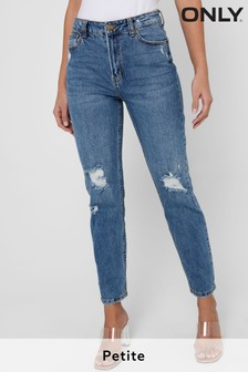 Only Blue Distressed Petite High Waist Mom Jeans