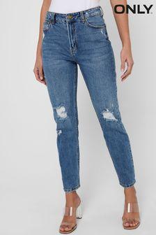 Only Blue Distressed Regular High Waist Mom Jeans