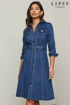 Lipsy Blue Regular Denim Midi Shirt Dress