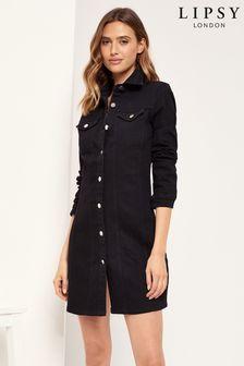 Lipsy Black Regular Long Sleeve Denim Dress