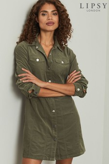 Lipsy Olive Babycord Long Sleeve Shirtdress