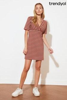 Trendyol Multi Stripe Wrap Mini Dress