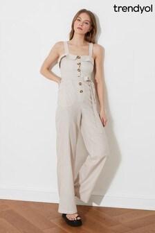 Trendyol Pink Linen Button Down Jumpsuit With Tie Waist