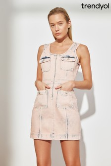 Trendyol Pink Denim Wash Utility Mini Dress