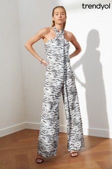 Trendyol Multi Halter Jumpsuit With Flared Leg
