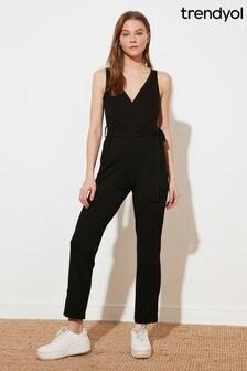 Trendyol Black Tye Waist Jumpsuit