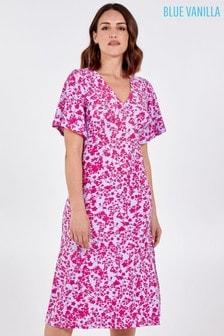 Blue Vanilla Purple Angel Sleeve Tea Dress