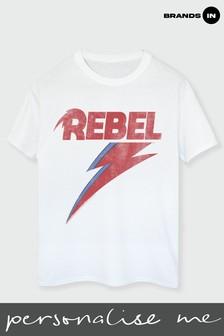 Brands In White David Bowie Distressed Rebel Women White Boyfriend Fit T-Shirt