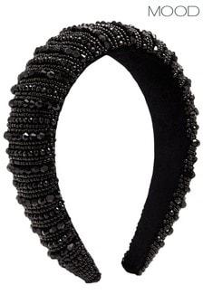 Mood Black Black Beaded Statement Headband