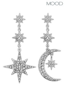 Mood Silver Silver Plated Mix And Match Stars And Moon  Drop Earring