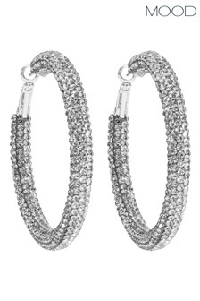 Mood Silver Silver Plated Crystal Tube Hoop