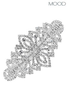 Mood Silver Silver Plated Crystal Barette