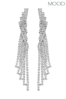 Mood Silver Silver Plated Crystal Statement Chandelier Drop Earring