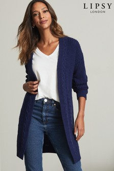 Lipsy Navy Blue Regular Cable Cardigan
