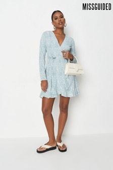 Missguided Blue Printed Ruffle Hem Wrap Dress