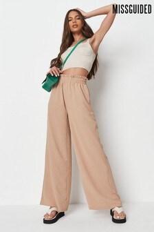 Missguided Camel Elastic Waist Wide Leg Trouser