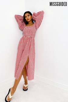 Missguided Red Shirred Bust Midi Smock Dress