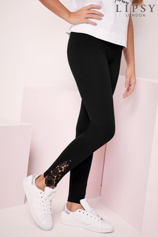 Lipsy Black Ponte Lace Hem Legging