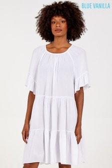 Blue Vanilla White Scoop Neck Tiered Dress