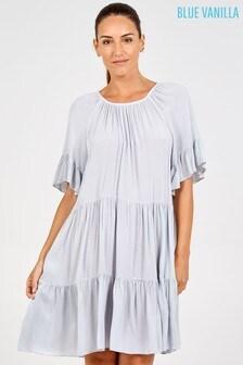 Blue Vanilla Grey Scoop Neck Tiered Dress