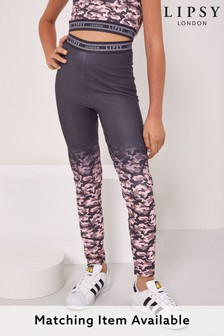 Lipsy Grey And Pink Camo Ombre Active Leggings