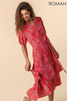 Roman Red Ditsy Floral Frill Hem Midi Dress