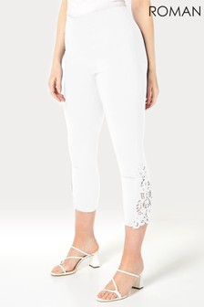 Roman White Lace Insert Crop Stretch Trousers