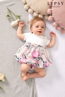 Lipsy White And Pink Baby Puff Sleeve Dress With Matching Knicker