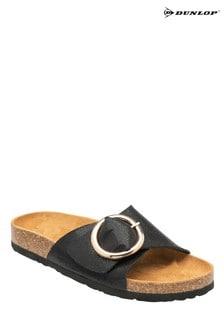 Dunlop Black Ladies Buckle Detail Mule Sandals