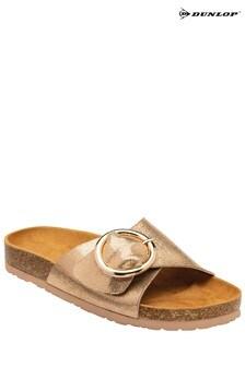Dunlop Rose Gold Ladies Buckle Detail Mule Sandals